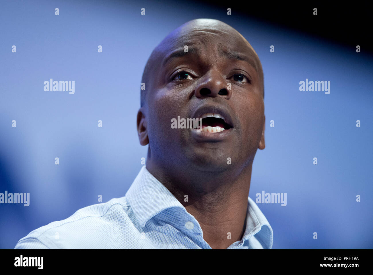 Birmingham, UK. 3rd October 2018. Shaun Bailey, Conservative Candidate for London Mayor, speaks at the Conservative Party Conference in Birmingham. © Russell Hart/Alamy Live News. - Stock Image