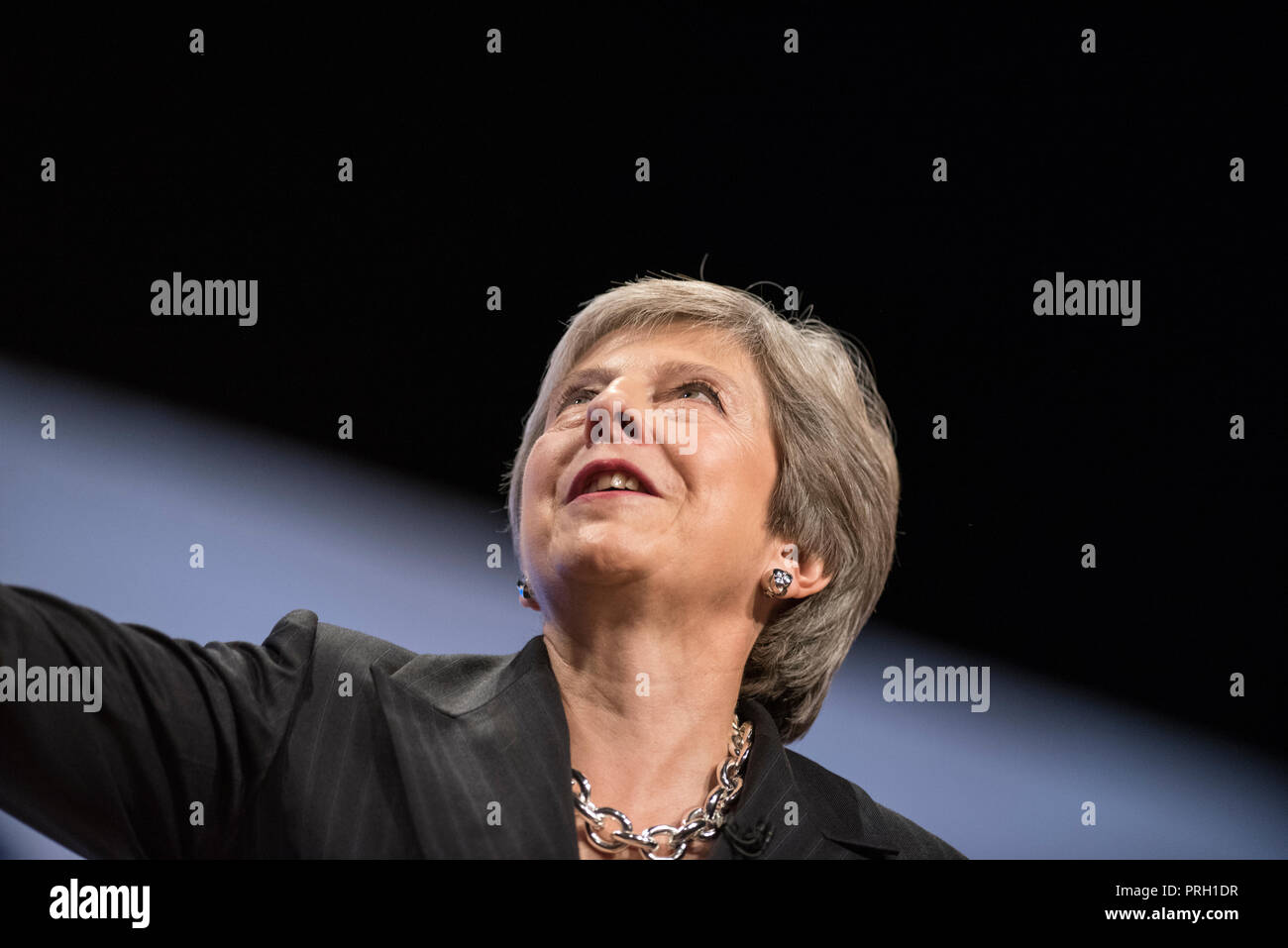 Birmingham, UK. 3 October 2018 - Prime Minister Theresa May delivers her speech at Conservative Party Conference 2018 in Birmingham, UK. Credit: Benjamin Wareing/Alamy Live News - Stock Image