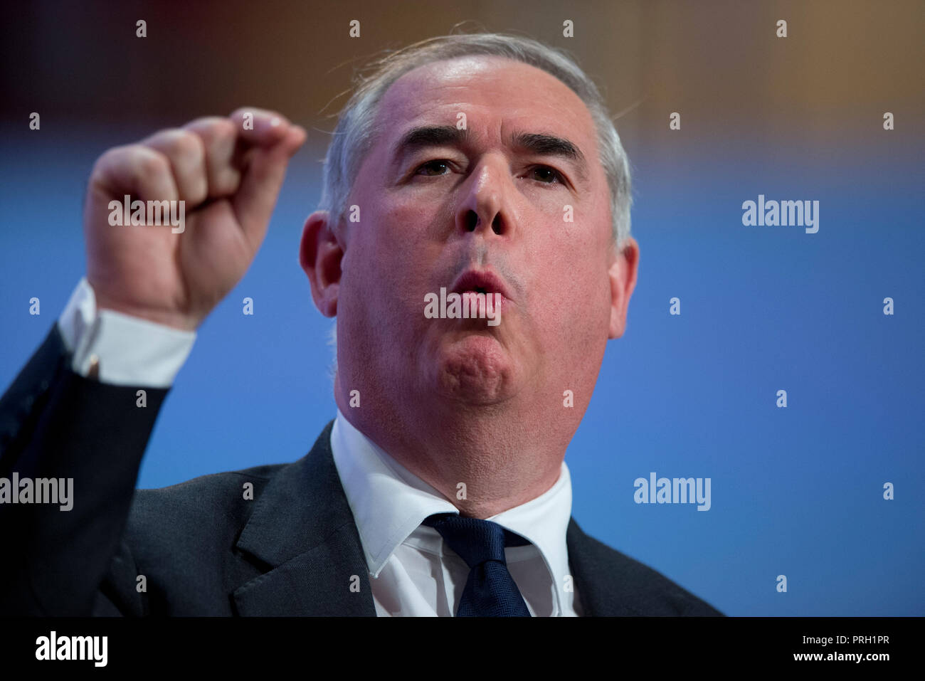 Birmingham, UK. 3rd October 2018. Geoffrey Cox MP, The Attorney General, speaks at the Conservative Party Conference in Birmingham. © Russell Hart/Alamy Live News. - Stock Image