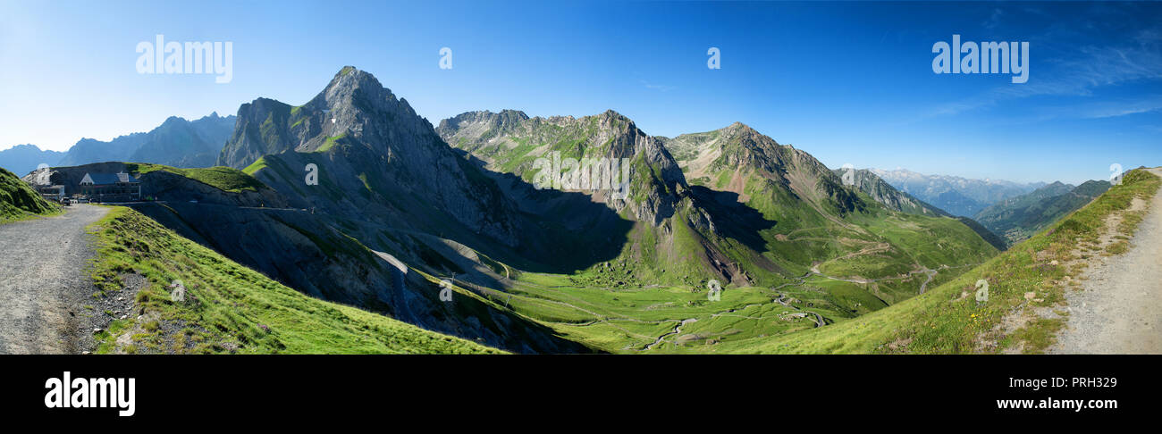 a view of Col du Tourmalet in pyrenees mountains Stock Photo