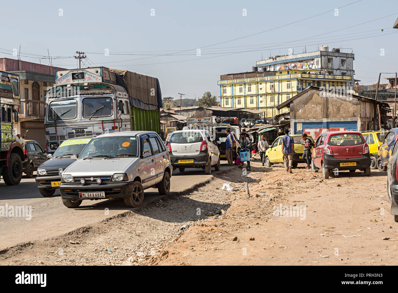 Road congestion, Meghalaya, India - Stock Image