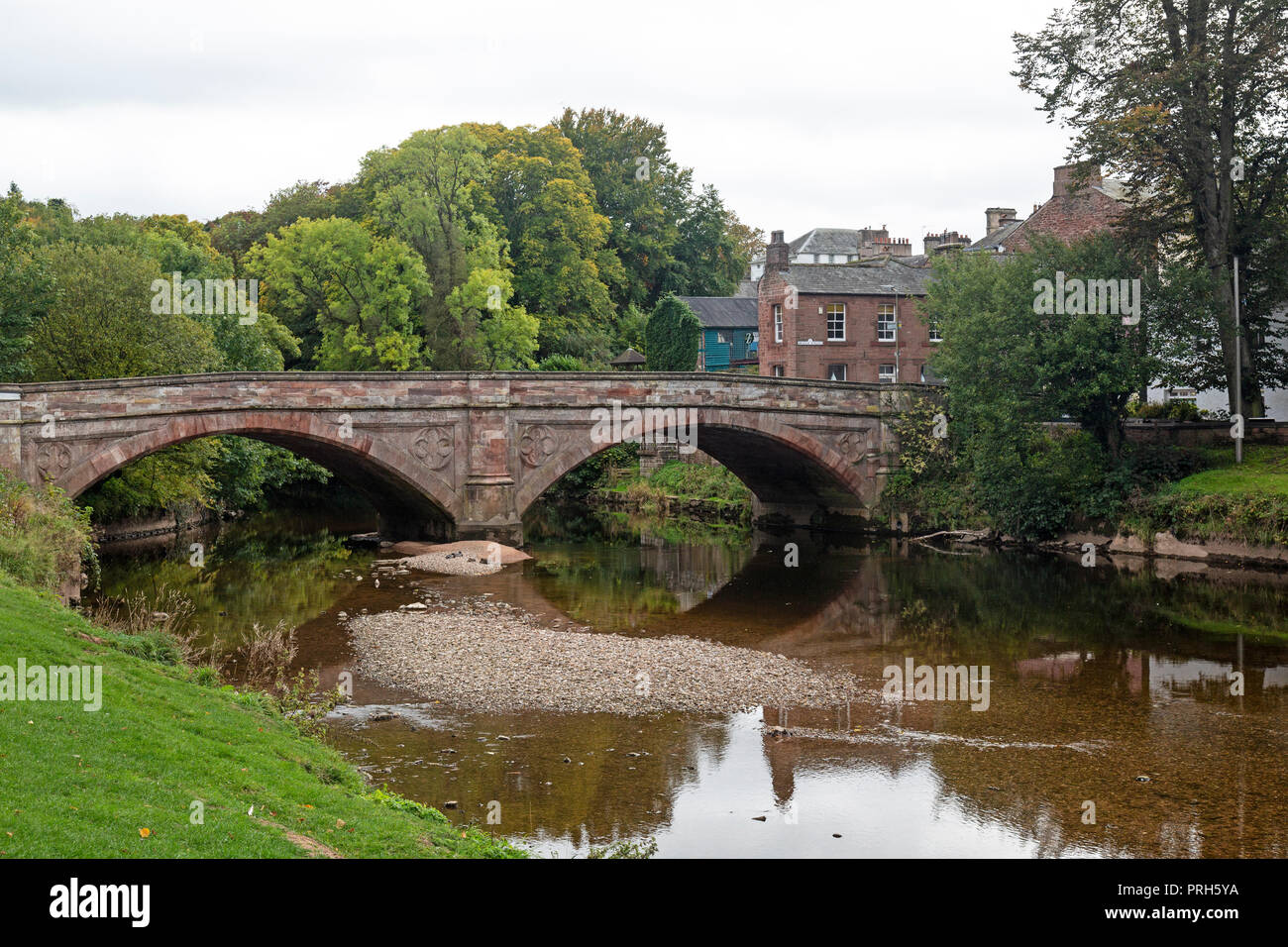St. Lawrence's Bridge, built in 1889, spanning the River Eden, in the town of Appleby-in-Westmorland in the county of Cumbria in England. - Stock Image