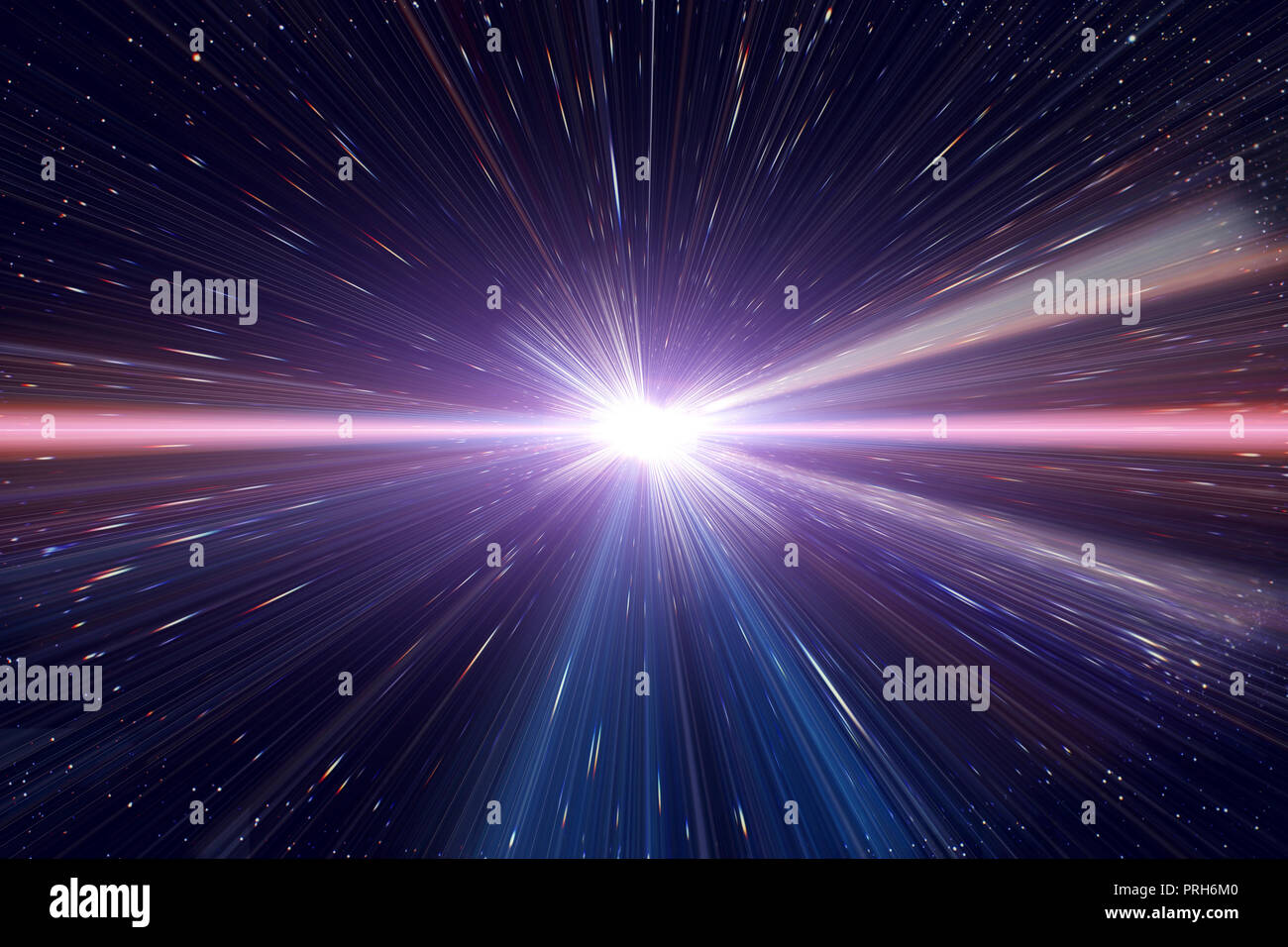 Light speed travel time warp traveling in outer space galaxy. - Stock Image