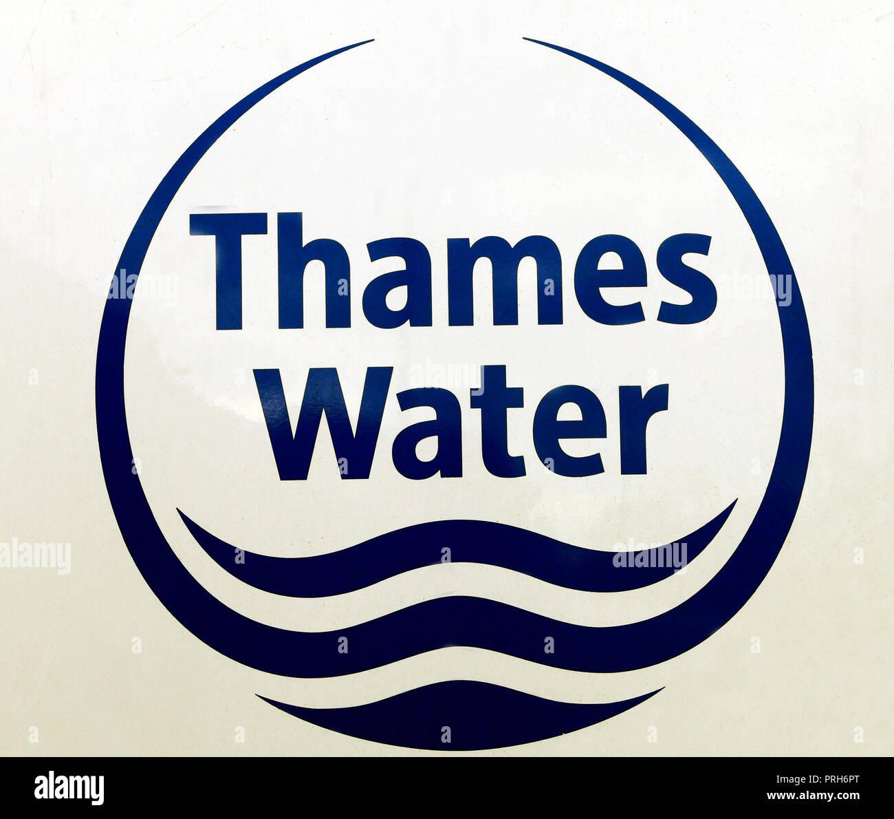 Thames Water, company, water board, logo, England, UK - Stock Image
