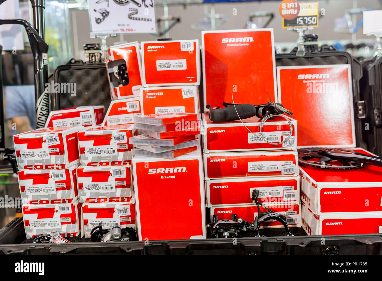 SRAM American bicycle component based in Chicago with bike gear set Sram RED groupset promotion sale in International Bangkok Bike 2018 expo. Bangkok, - Stock Image