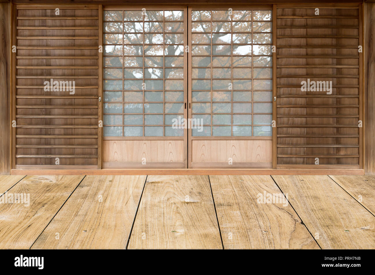 japanese style sliding door in traditional house. Stock Photo
