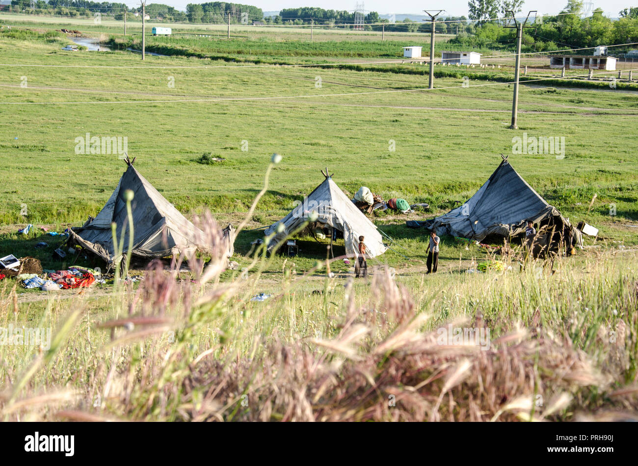 Romanian Gypsy Camp - Editorial - Racism - Discrimination - Tradition - Stock Image
