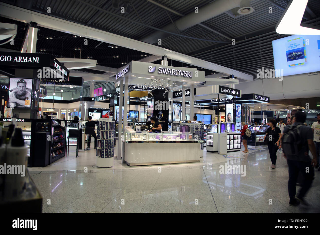 Athens Greece Athens Airport Duty Free Fragrance Counters and Swarovski Jewellery - Stock Image