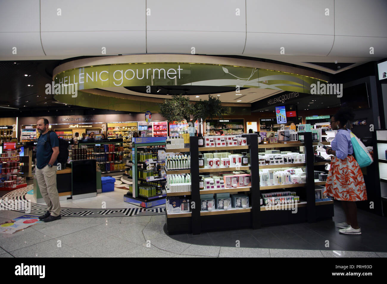 Athens Greece Athens Airport Duty Free People Shopping In Hellenic Gourmet Food Shop - Stock Image