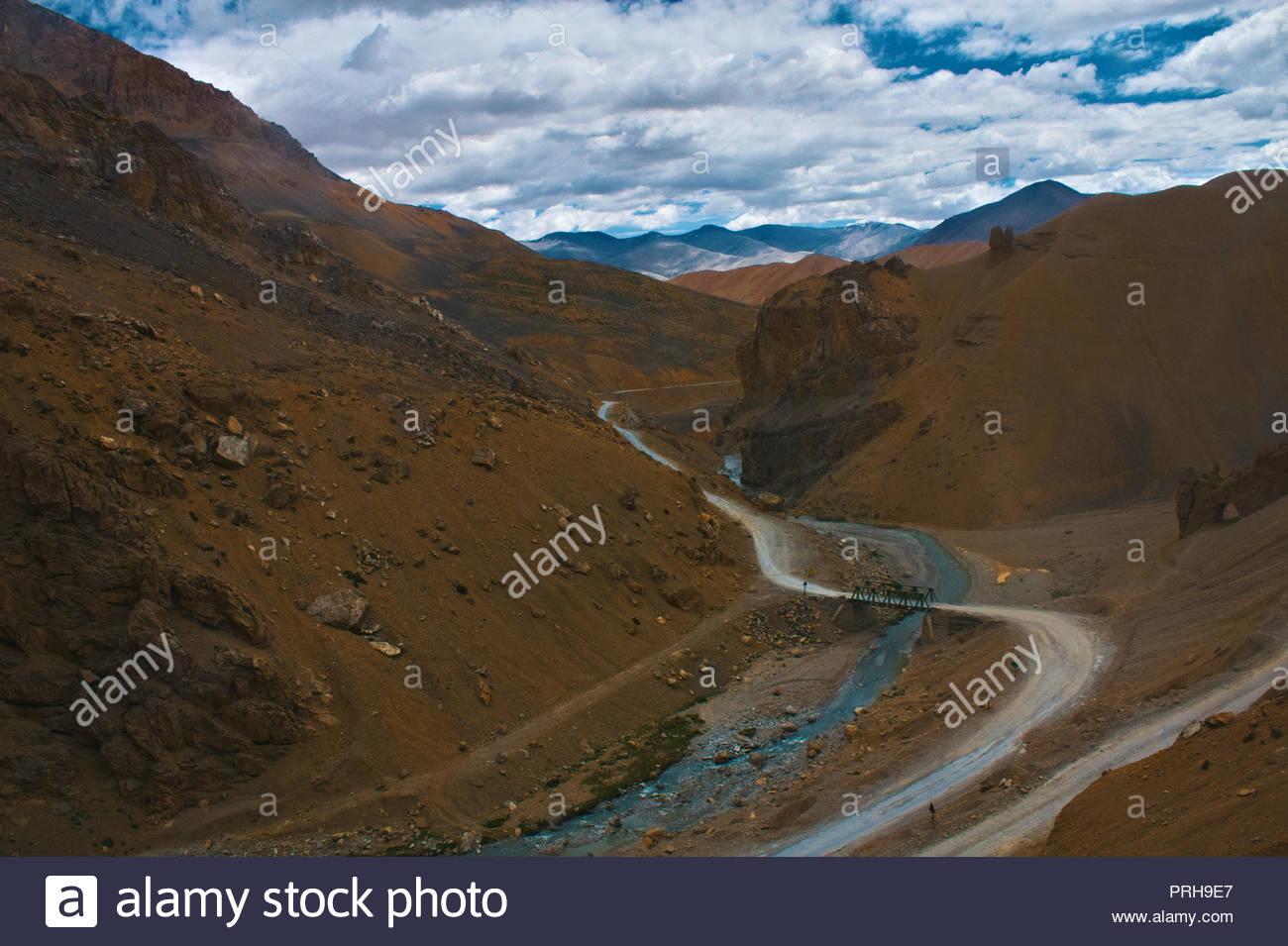 Valley view towards Pang, Ladakh while climbing Lachung La Pass - Stock Image
