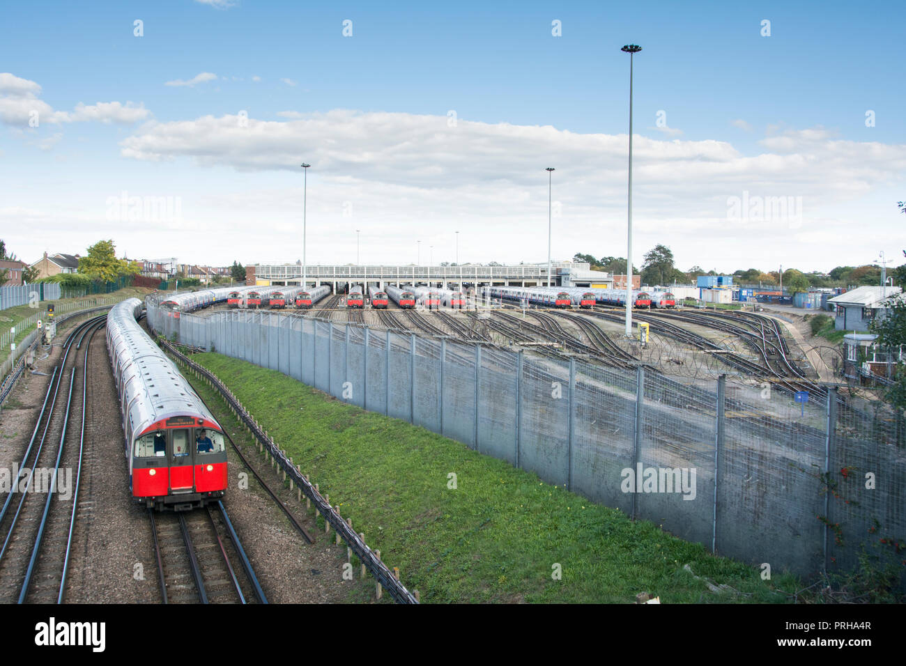 Out of service Piccadilly Line underground trains at Boston Manor depot due to strike action by the RMT. - Stock Image