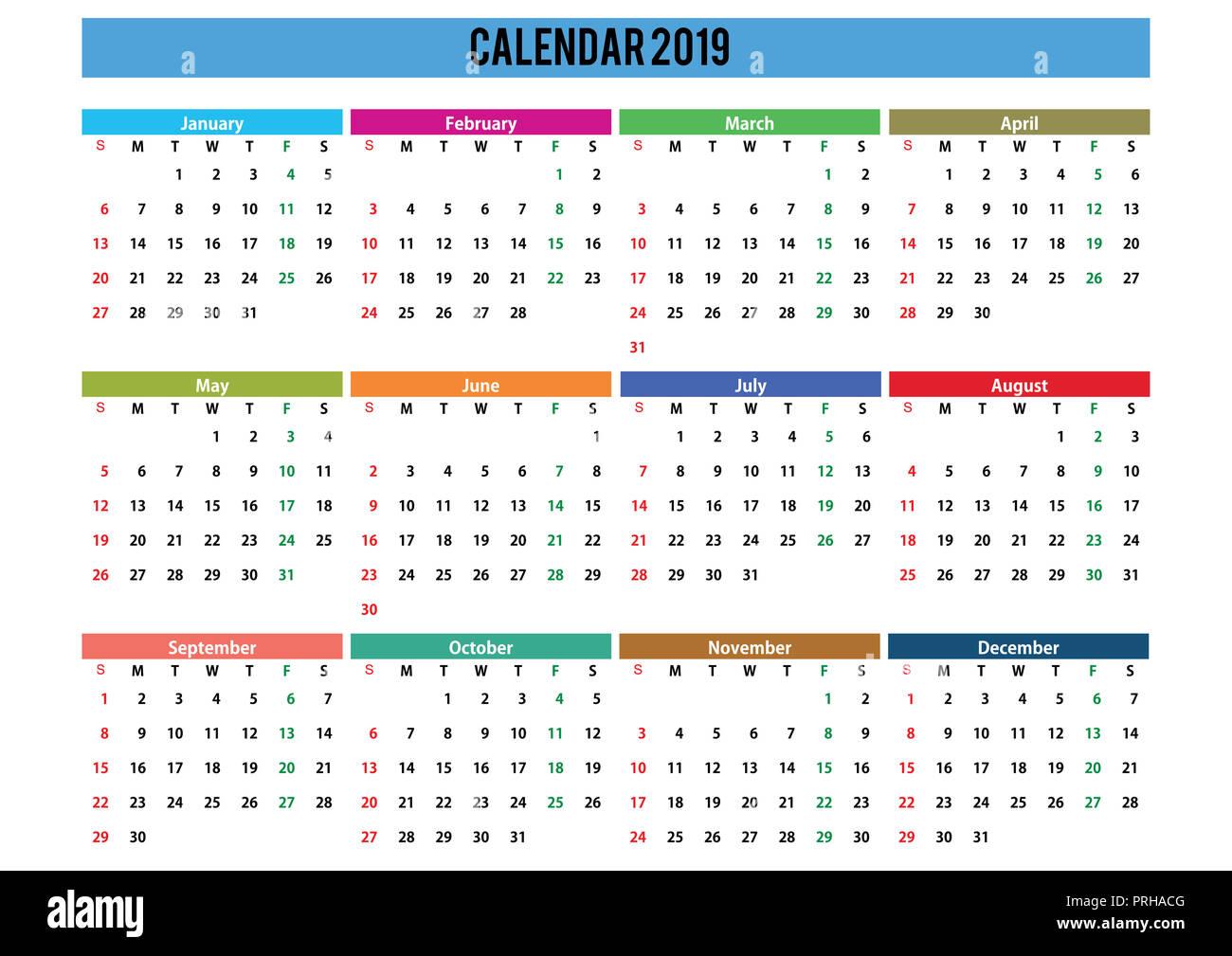 Calendario 2019 English.2019 English Generic Calendar A3 Easy Cropping For The Busy
