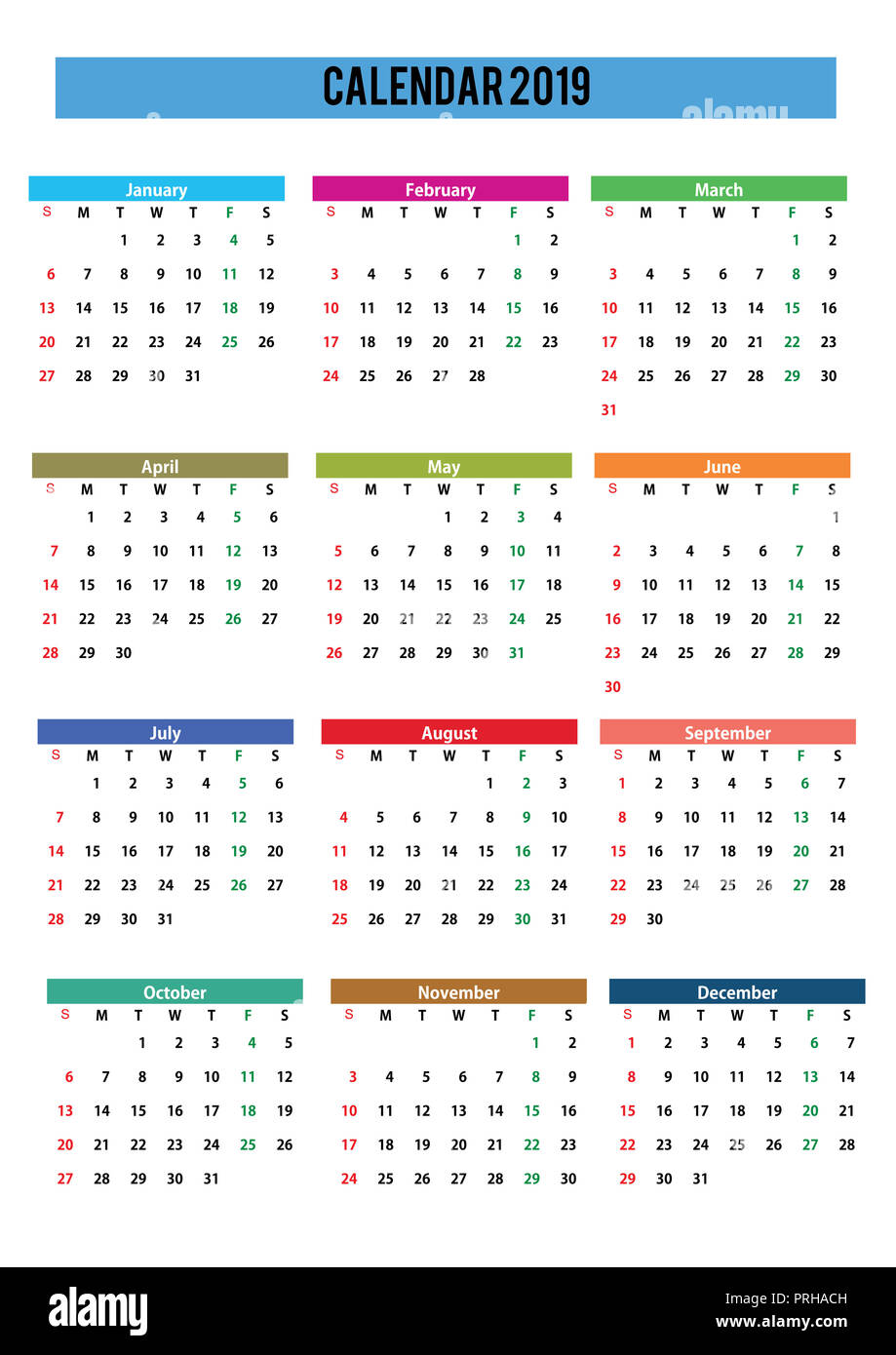 2019 English generic calendar A3, easy cropping for the ...