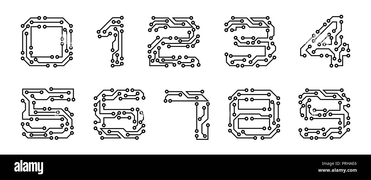 Set Numerals Made in Circuit Texture, Computer and Data Related Business, Hi-tech and Innovative, Electronic - Stock Image