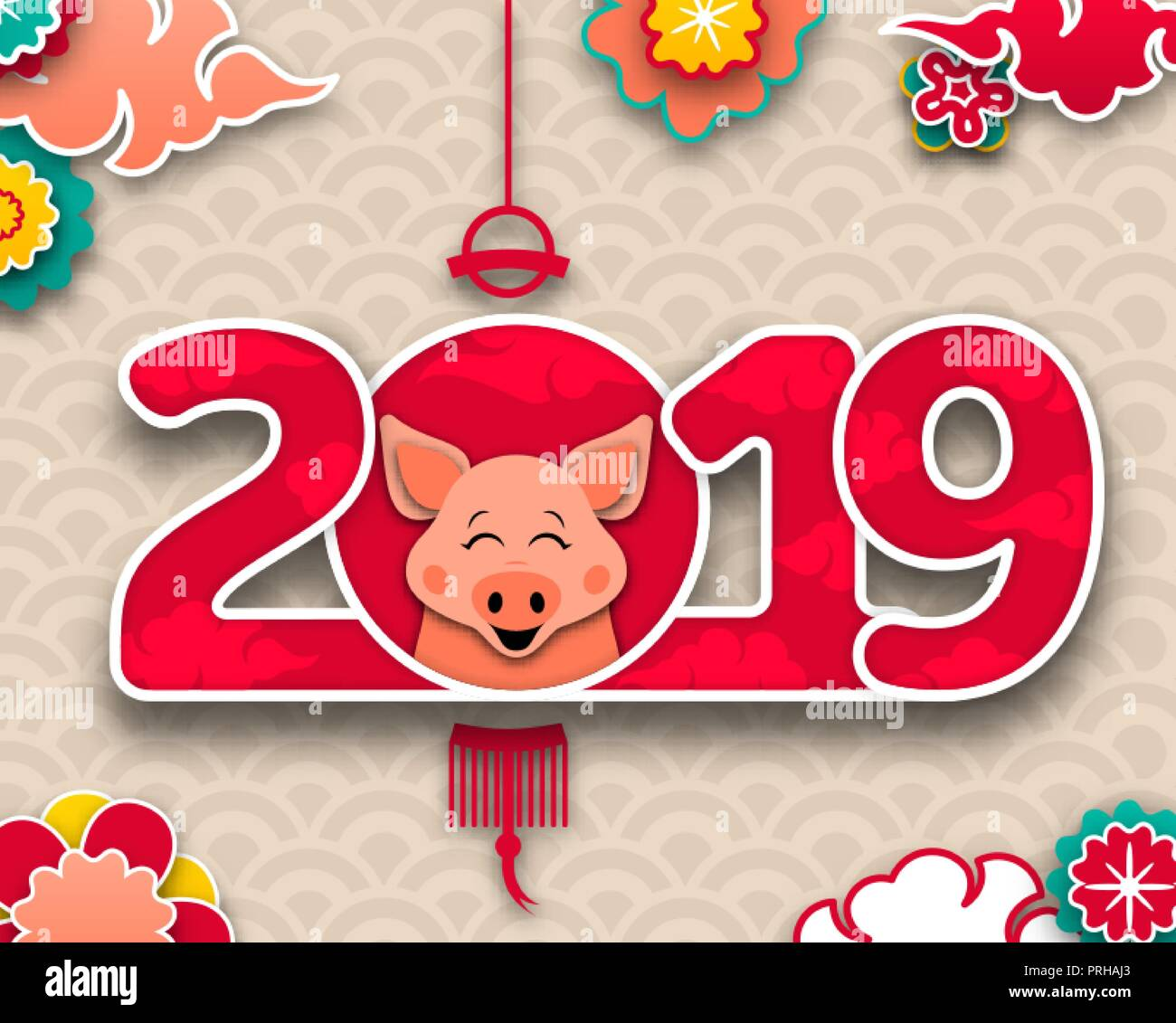happy chinese new year 2019 zodiac sign pig traditional asian background
