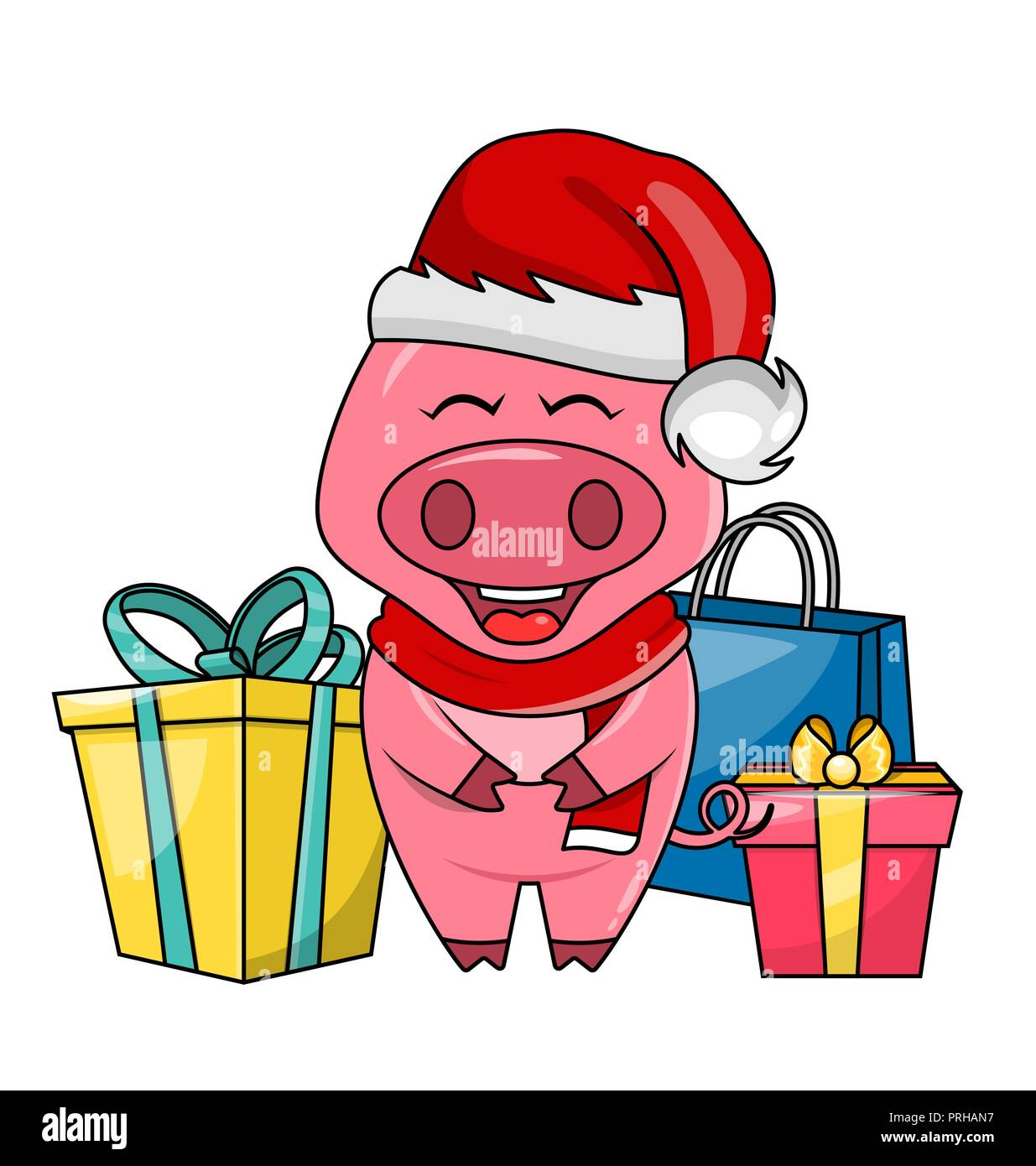 cute santa pig with gift boxes merry christmas and happy new year 2019