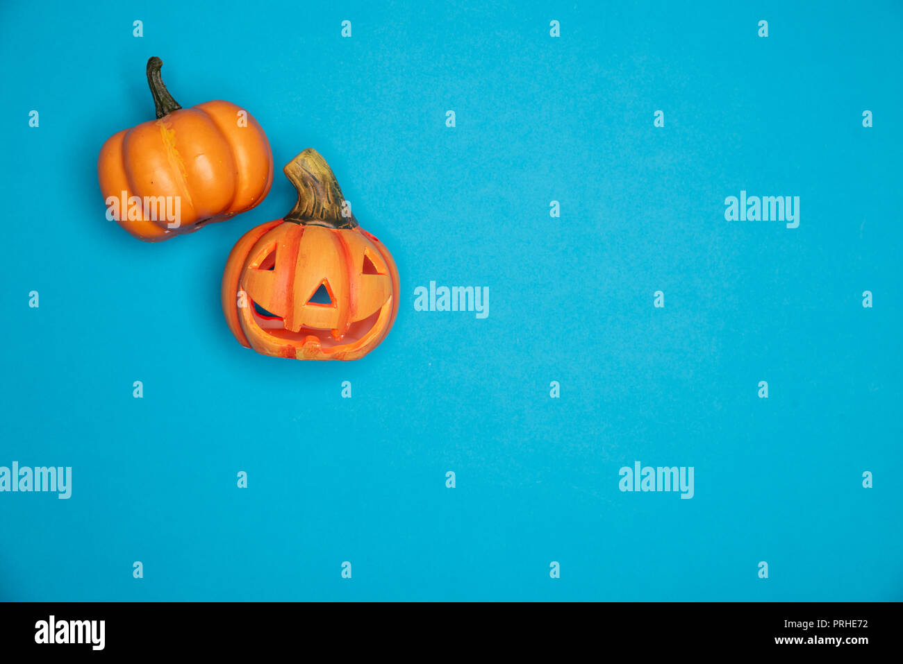 halloween sculpted pumpkin funny and cute faces flat lay against