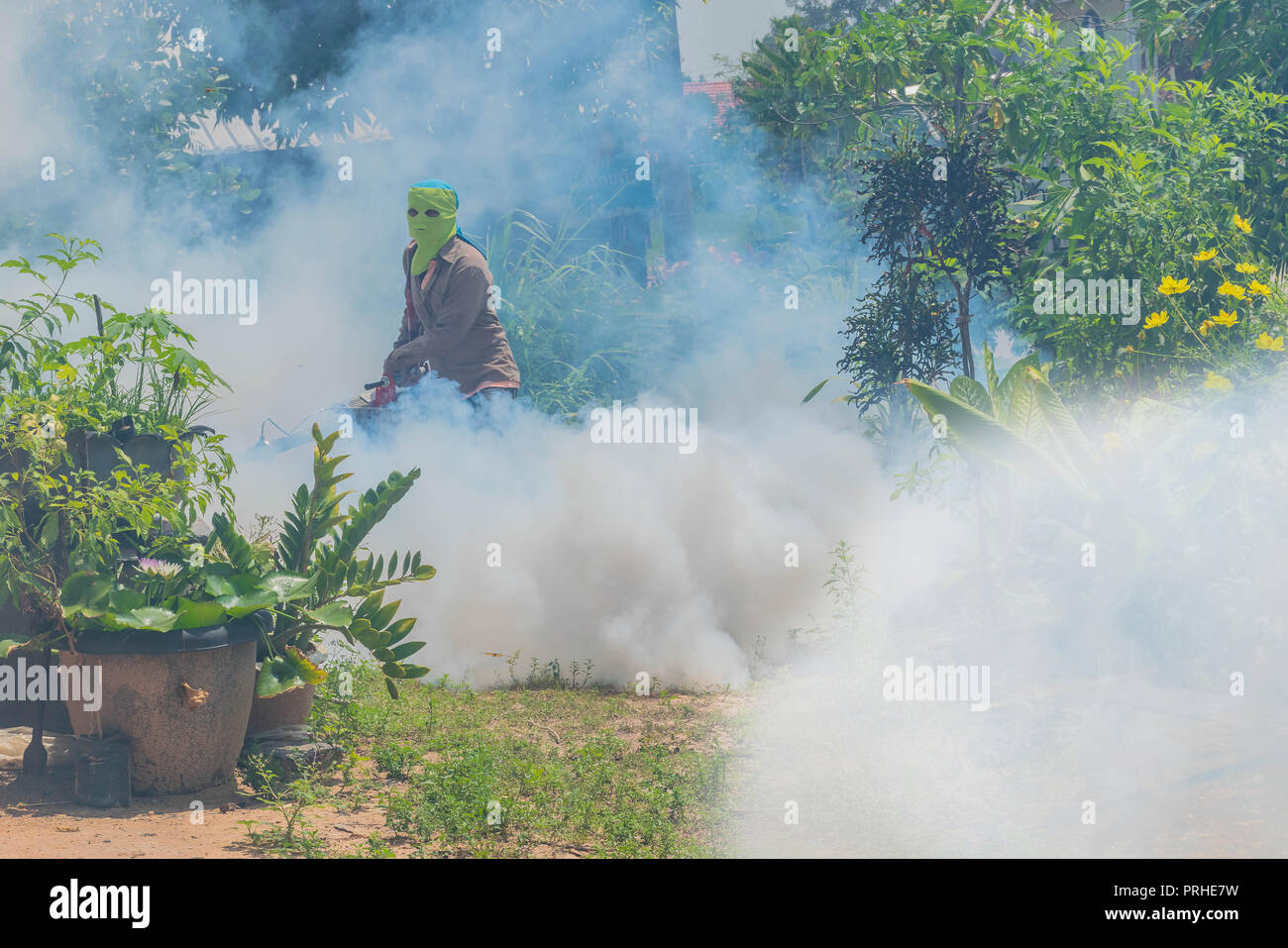 The soft blurred and soft focus the man sprays and fogging insecticide to prevent and kill the mosquito, Anti-Mosquito,Malaria Prevention. - Stock Image