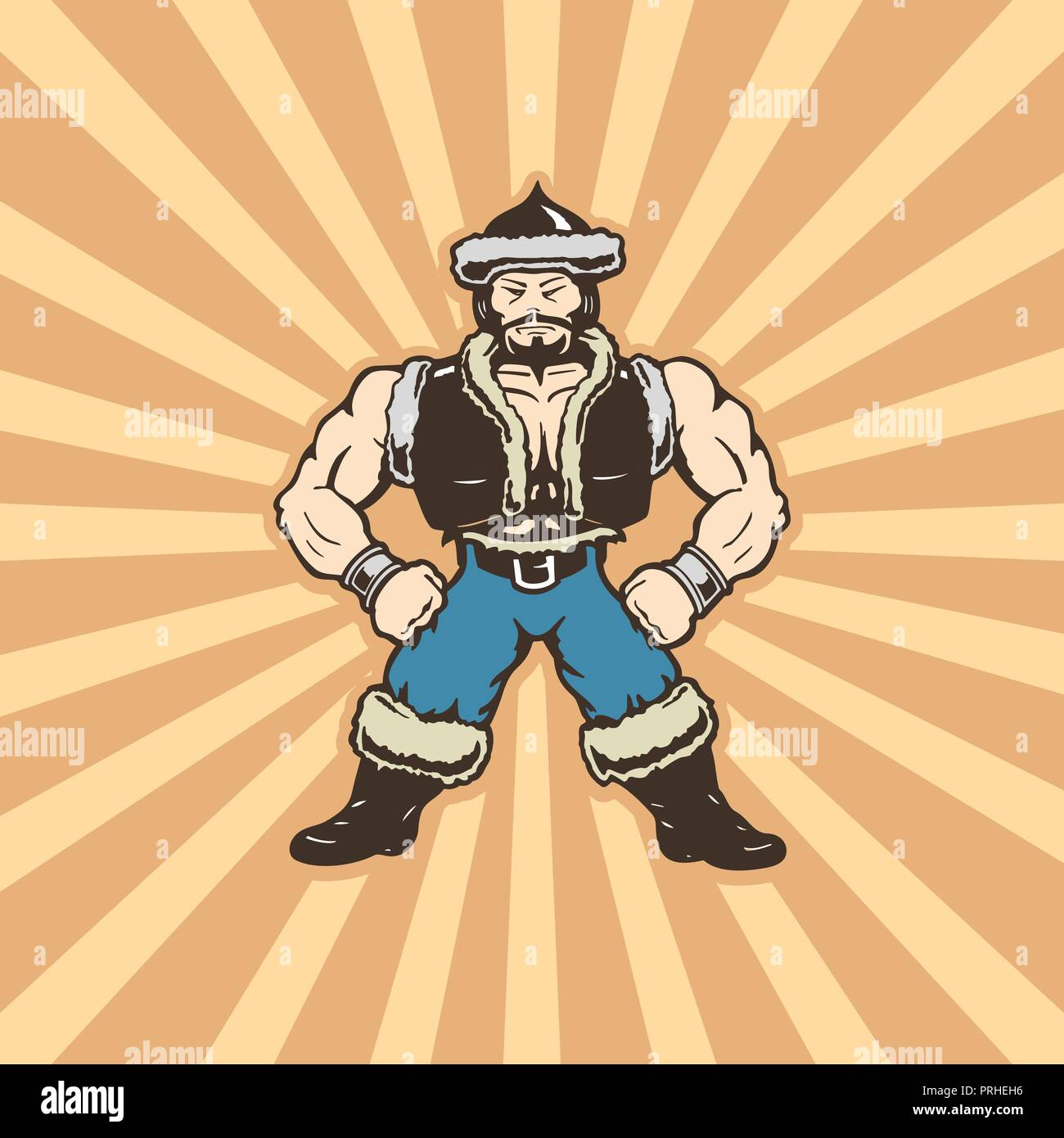 mongolian man cartoons character . cartoon character Vector Illustration. - Stock Vector