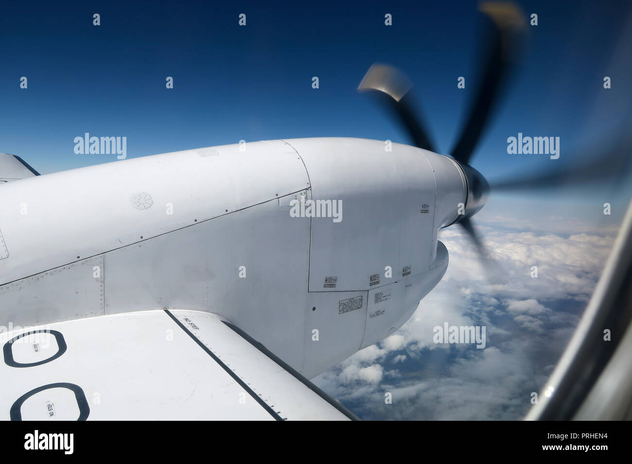 Turboprop engine on SAAB 2000 aircraft from window - Stock Image