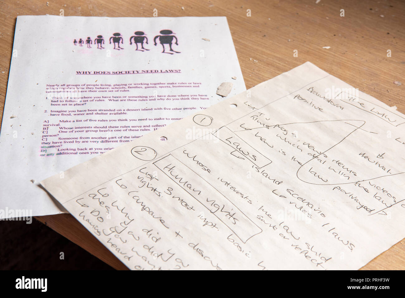 Teaching notes for a lesson on law and order, human rights and morality inside the classroom of a juvenile detention centre. - Stock Image