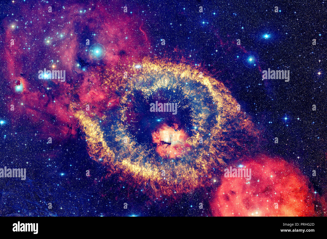 Bright nebula with stars in outer space. Elements of this image furnished by NASA. - Stock Image