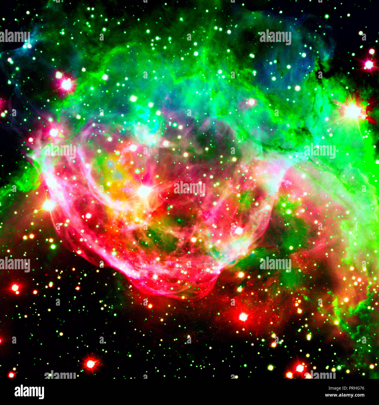 Colorful spiral galaxy in outer space. Elements of this Image furnished by NASA. - Stock Image