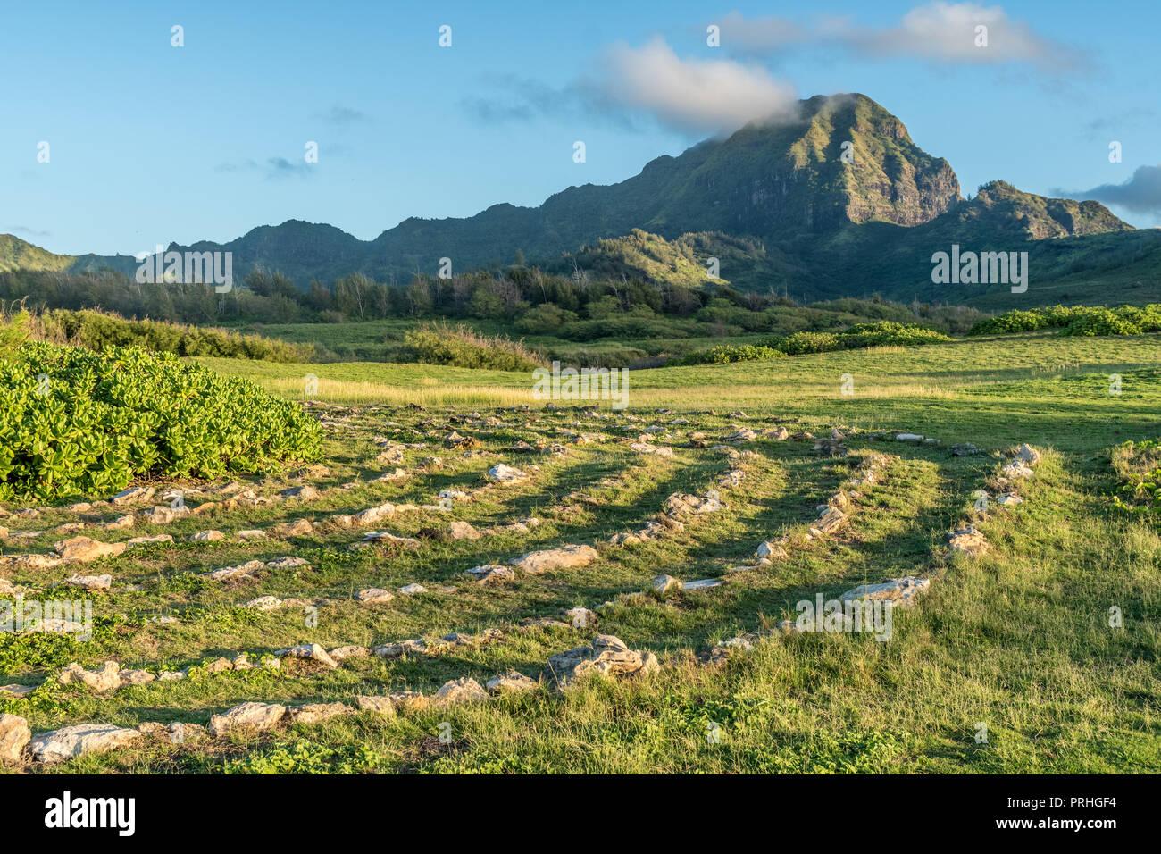 Labyrinth and Haupu Mountain and Momilani, Poipu Kauai - Stock Image