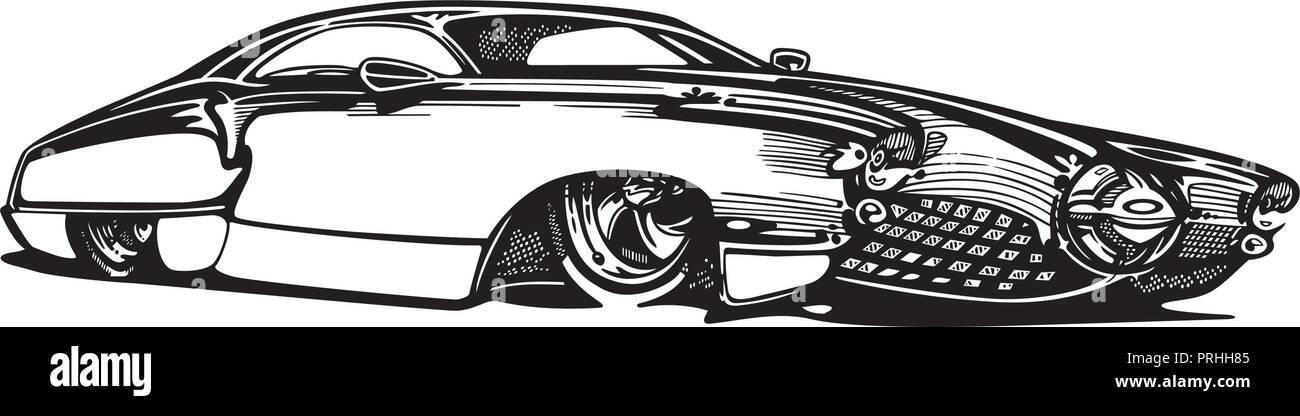 Vector retro hotrod car clipart cartoon Illustration ...