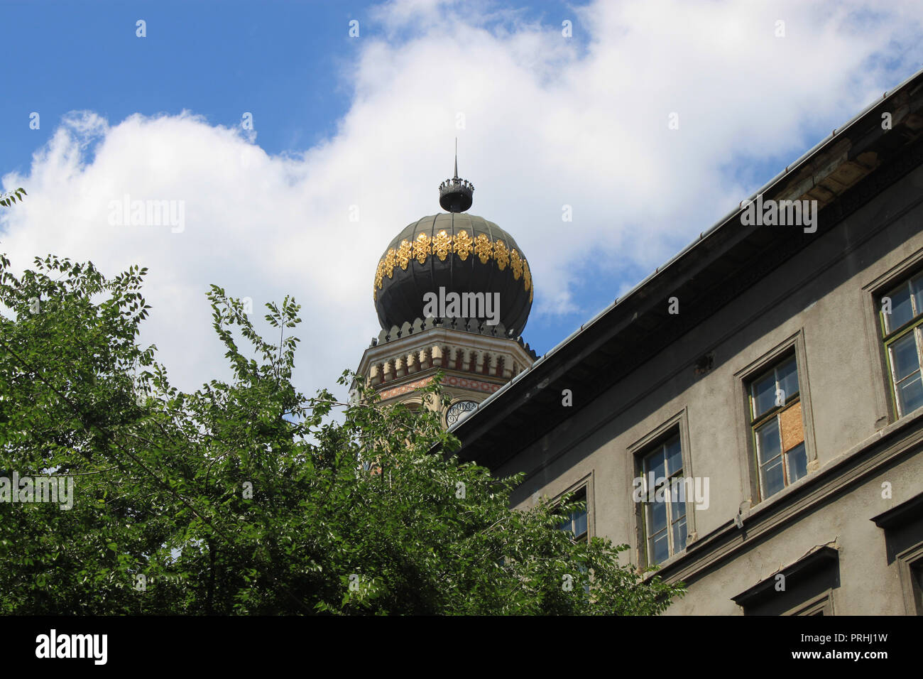 One towers of the Great Synagogue of Budapest (also known as Dohany Street Synagogue) Eastern Europe, Hungary Stock Photo
