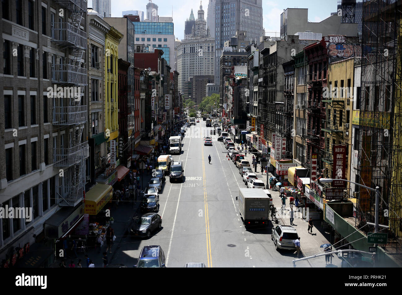 New York, Usa - June 22, 2018: Chinatown view from the Manhattan Bridge in Chinatown, New York City - Stock Image