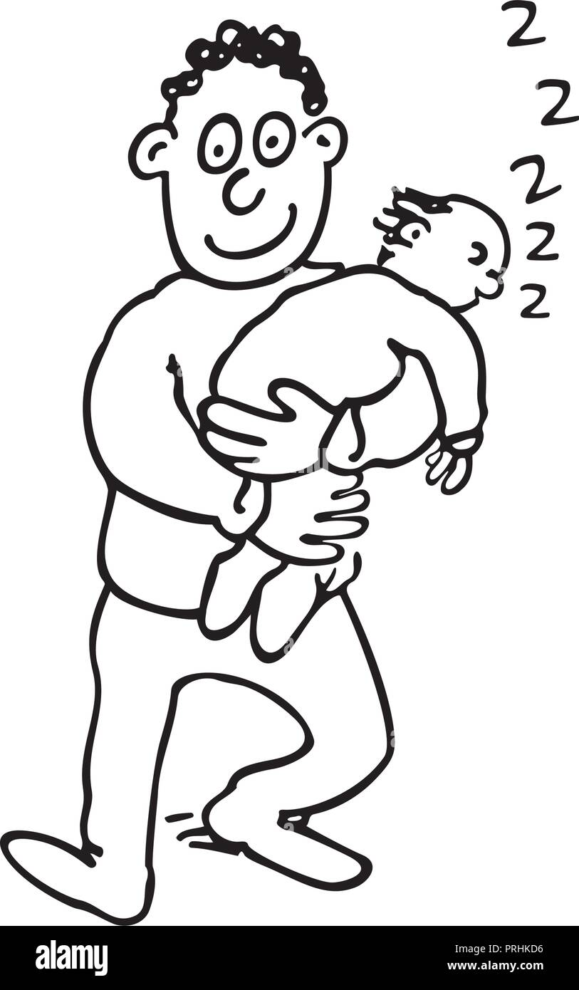 dad is holding his sleeping baby. outlined cartoon handrawn sketch illustration vector. - Stock Image