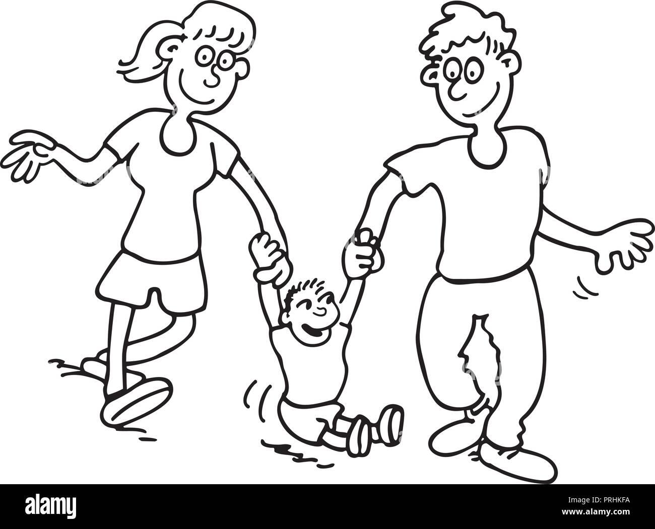 Happy Family Cartoon Outlined Cartoon Handrawn Sketch Illustration Vector Stock Vector Image Art Alamy
