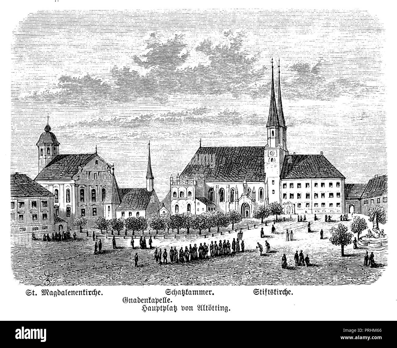 Main square of Altötting, - Stock Image