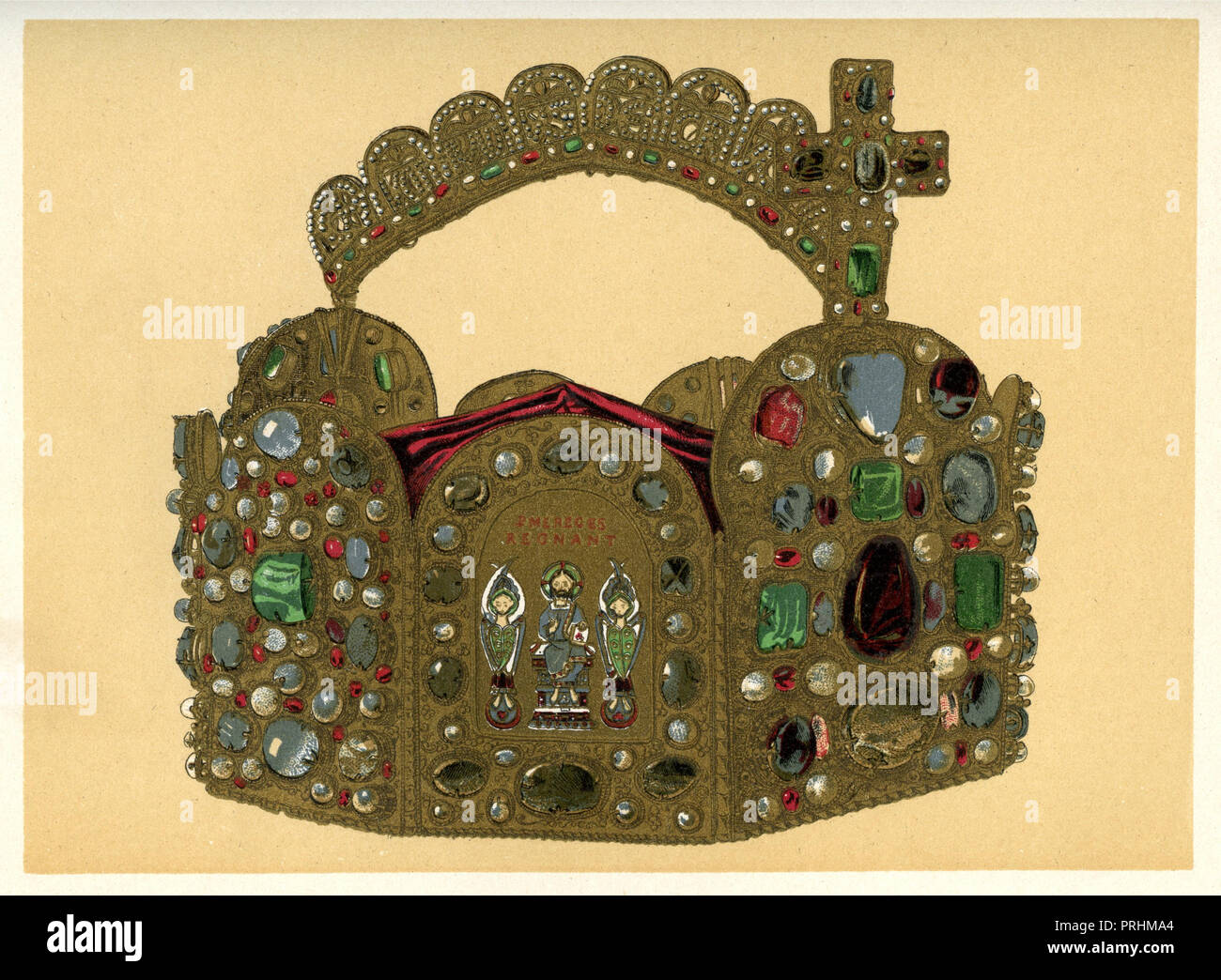 The German imperial crown. Corona aurea. Imperial Crown of Kings and Emperors of the Holy Roman Empire since the High Middle Ages,    1899 Stock Photo