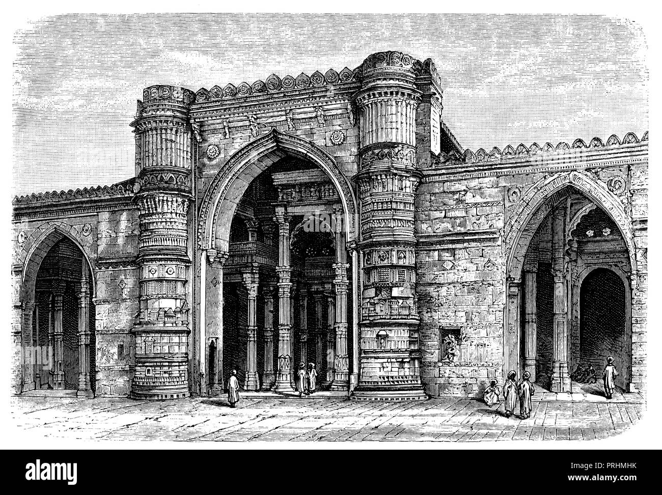 Portal of the Jamma Mashid (Grand Mosque) in Ahmedabad, - Stock Image