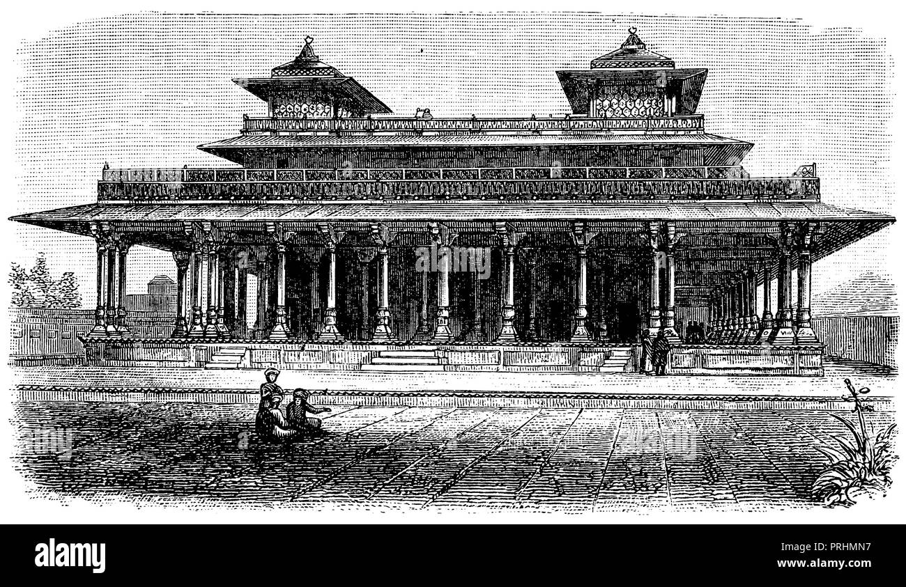 Allahabad: hall in the palace, - Stock Image