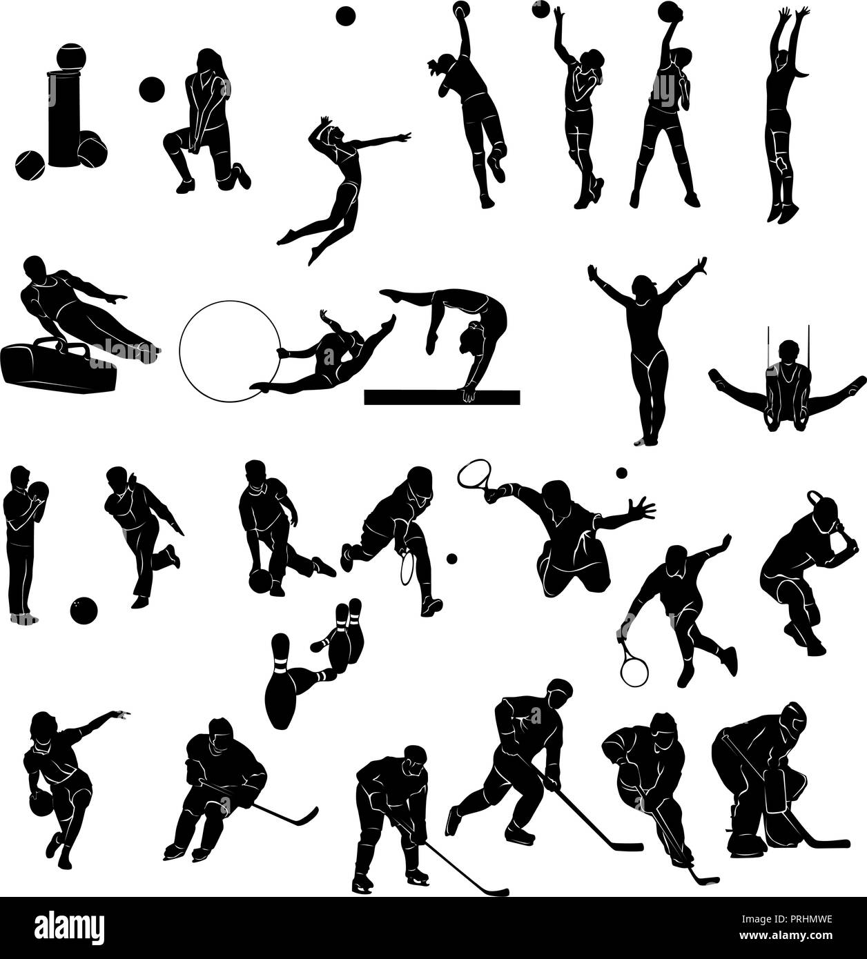 Set of Sports people Silhouettes collection. Vector Illustration. - Stock Image