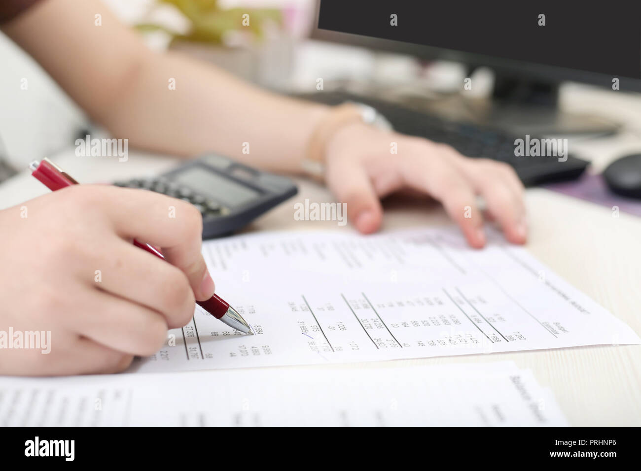 man is checking balance sheet with pen stock photo 221051774 alamy