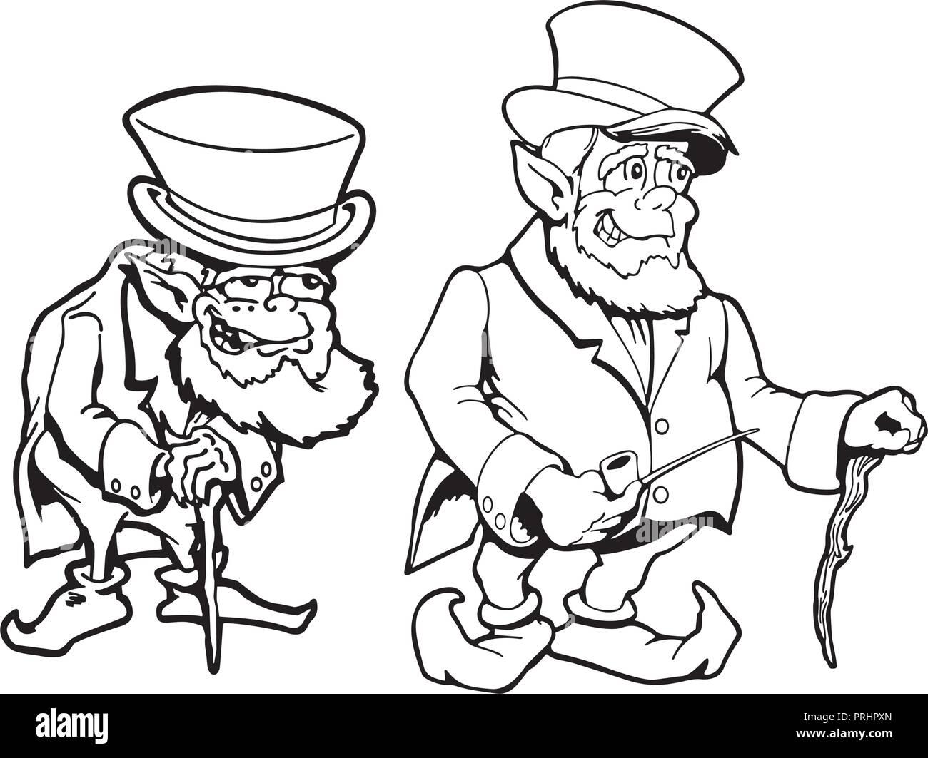america old man. cartoon character . Vector Illustration. - Stock Image