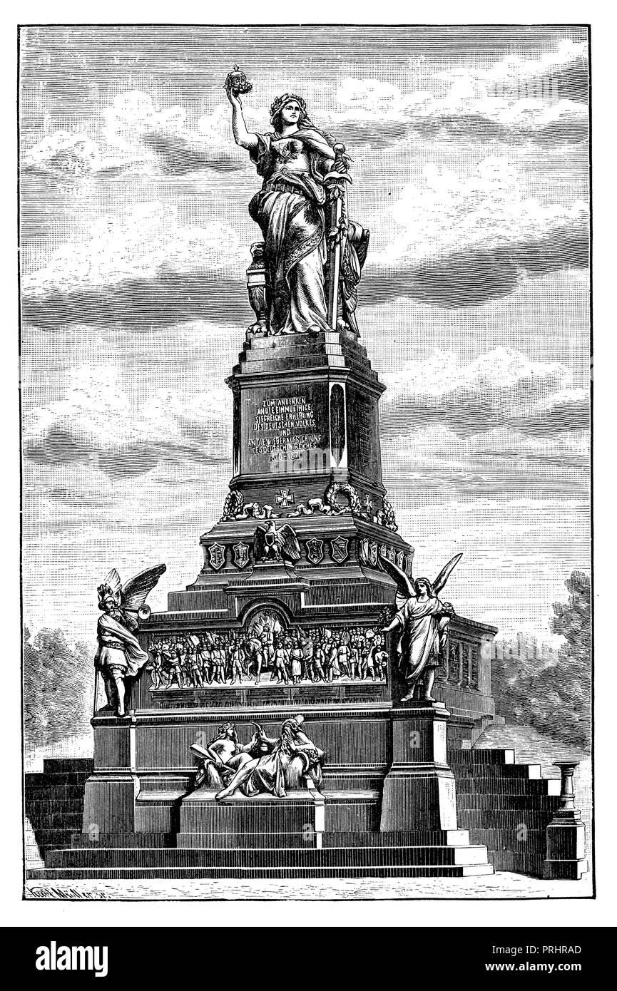 Niederwald monument in the Taunus,   1887 - Stock Image