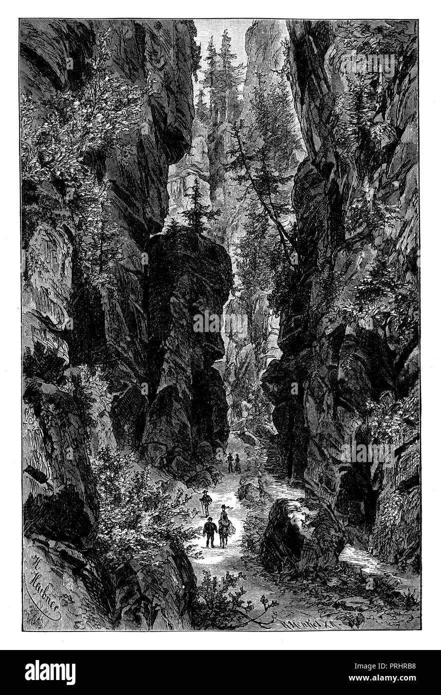 Uttewalder Grund in the Elbsandsteingebirge,   1887 - Stock Image