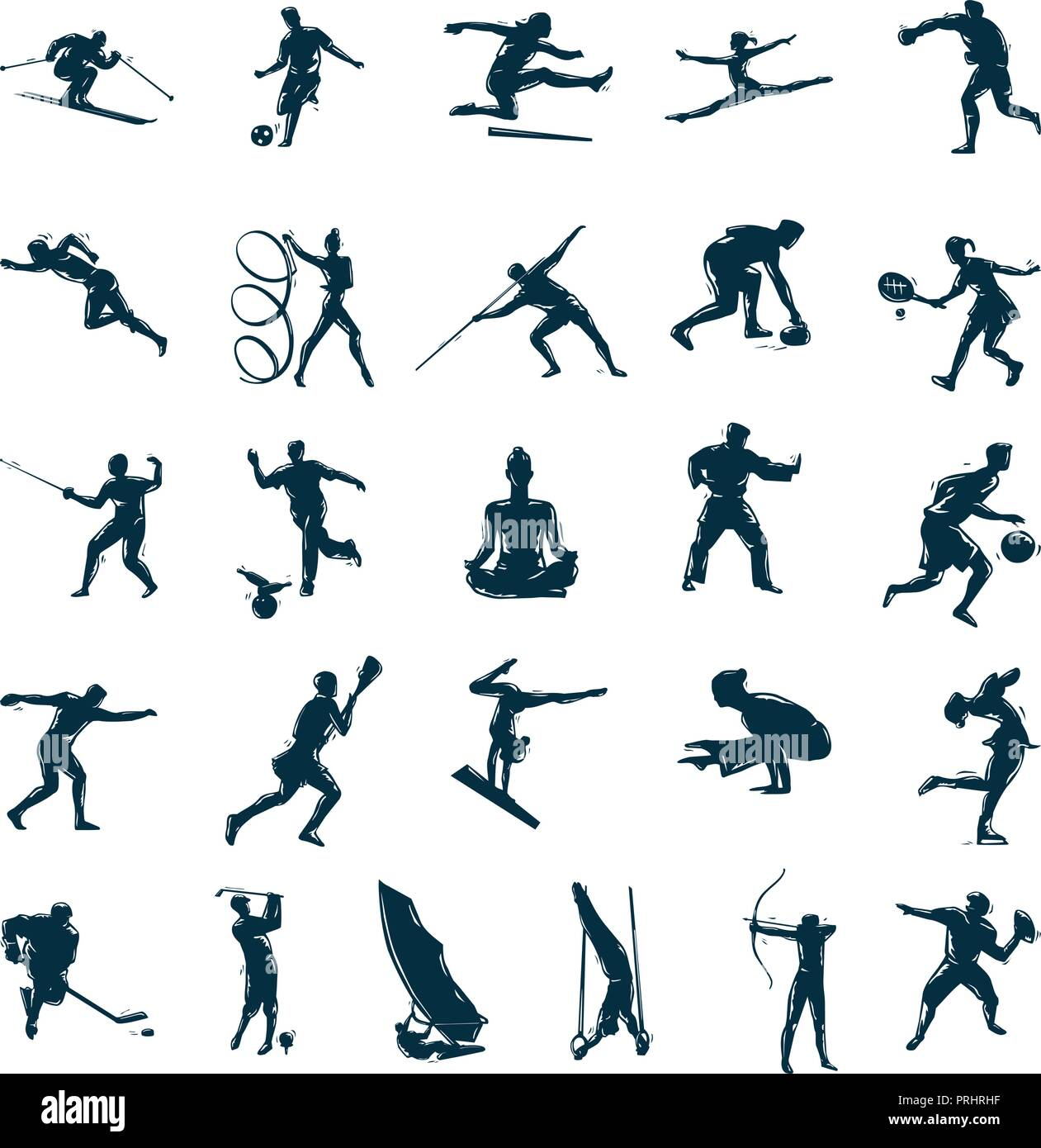 Set of vector silhouettes drawn of people in sports. Vector Illustration.. Collection set - Stock Image