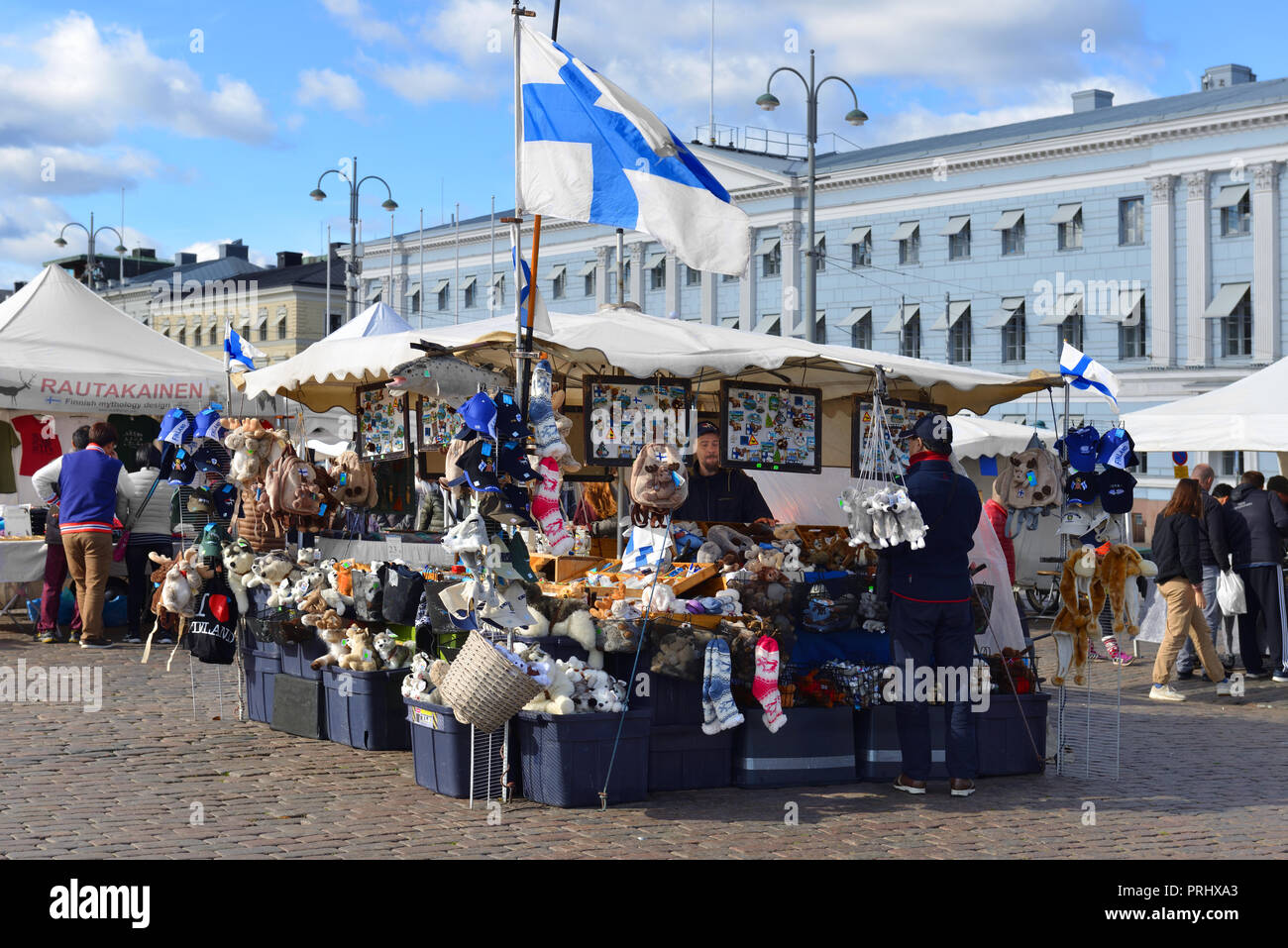 Market Square (Kauppatori). Finnish souvenirs and gifts. Helsinki - Stock Image