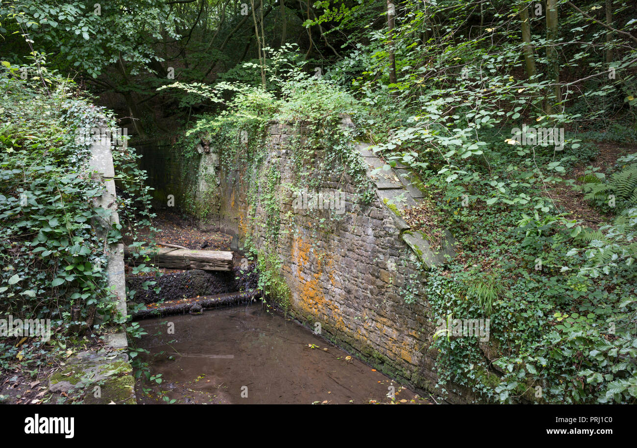 Disused and derelict lock on former Glamorganshire Canal, Tongwynlais, Cardiff, UK - Stock Image