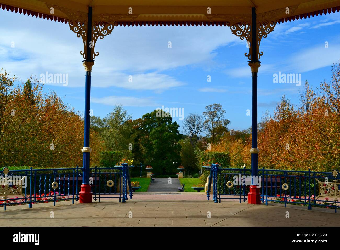 The stunning Autumn view from the beautiful, traditional victorian  bandstand at Ropner Park, Stockton-on-Tees, UK. - Stock Image