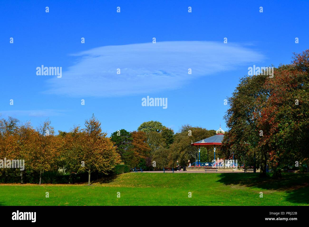 Naturally lit, colourful images of the traditional Victorian style Bandstand and its' surroundings in Autumn at Ropner Park, Stockton-on-Tees, UK. Stock Photo