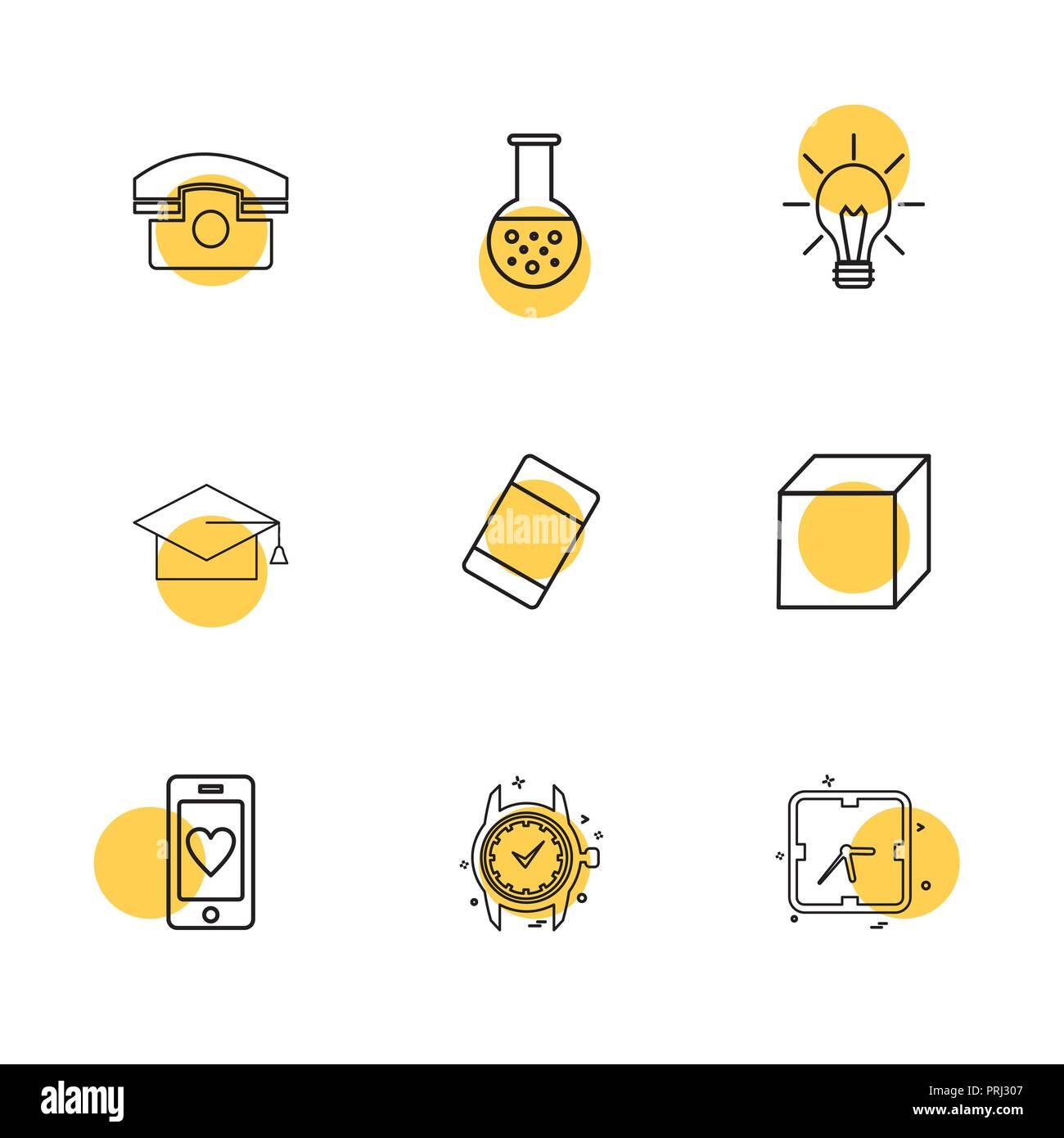 convocation , cube , idea , bulb , beaker ,Watch , time , clock