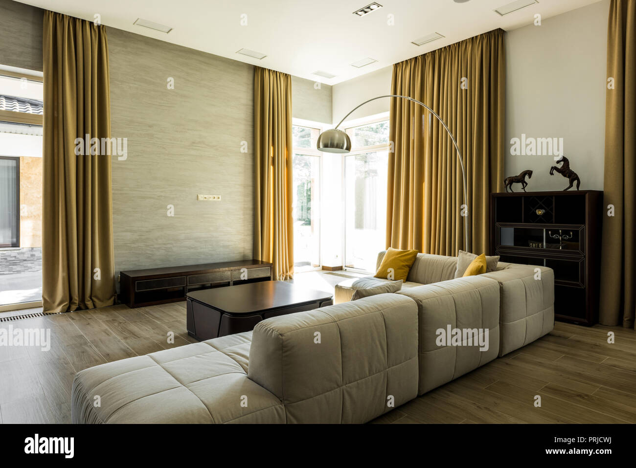 Interior Of Empty Modern Living Room With Sofa And Big ...