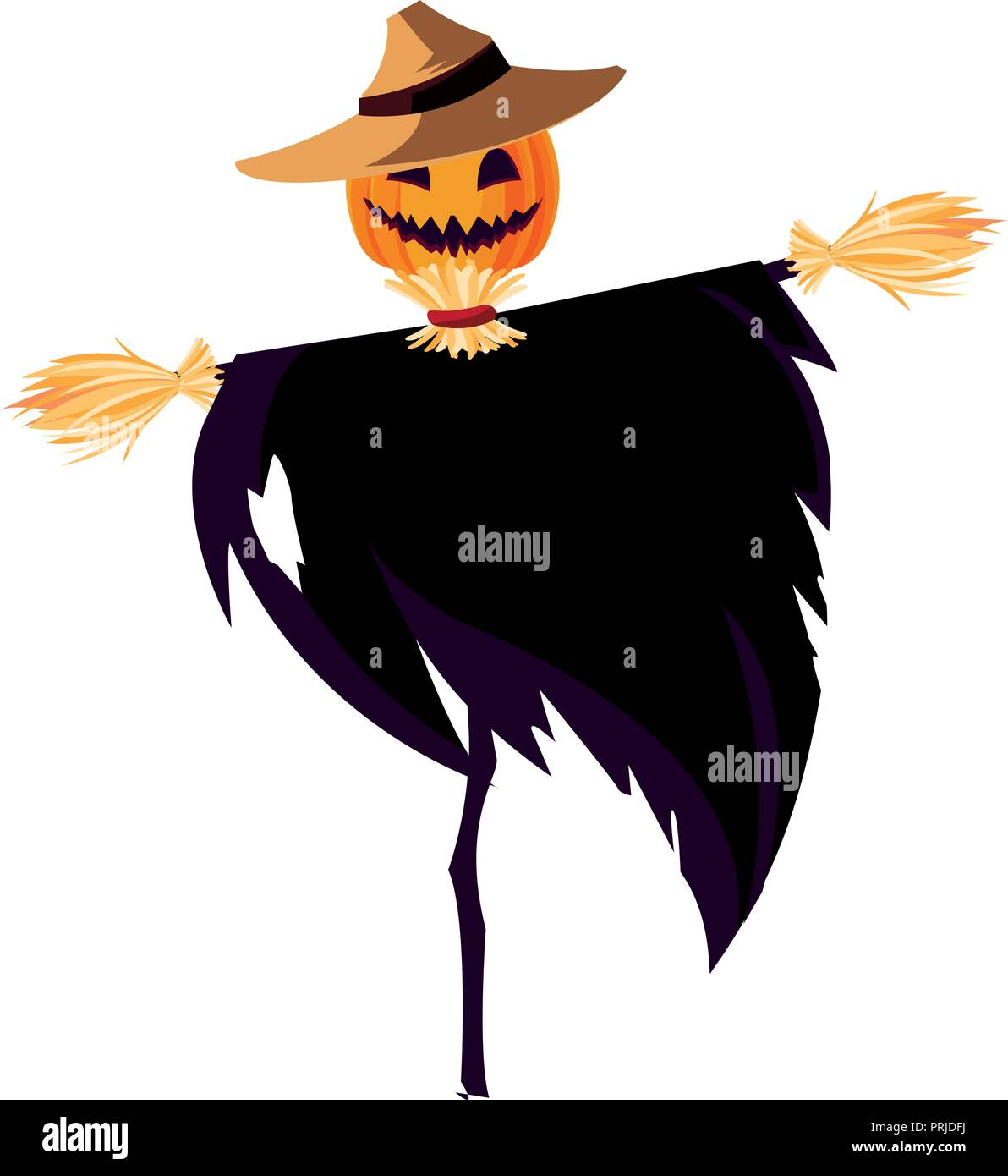 halloween scarecrow character icon vector illustration design - Stock Image